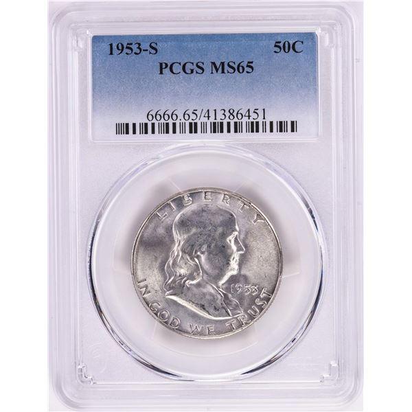 1953-S Franklin Half Dollar Coin PCGS MS65