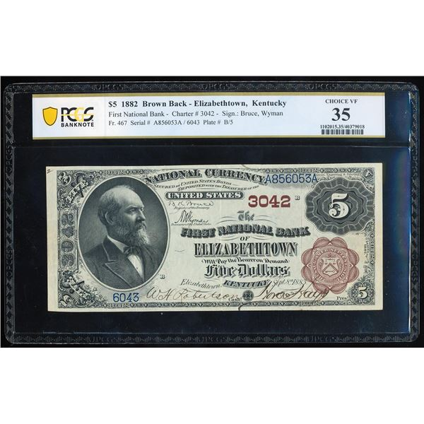 1882BB First NB of Elizabethtown, KY CH# 3042 National Note PCGS Choice Very Fine 35