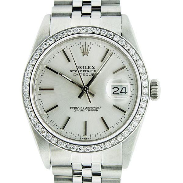 Rolex Men's Stainless Steel Silver Index 36MM Diamond Datejust Wristwatch
