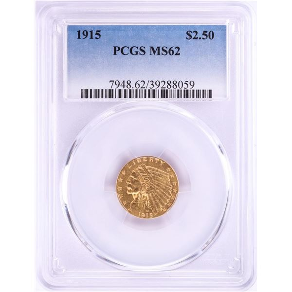 1915 $2 1/2 Indian Head Quarter Eagle Gold Coin PCGS MS62