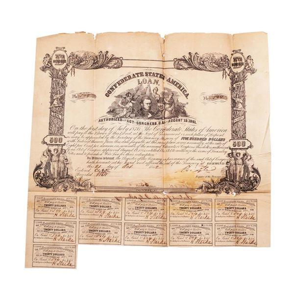 1862 $500 Confederate Bond Obsolete Sheet B-58