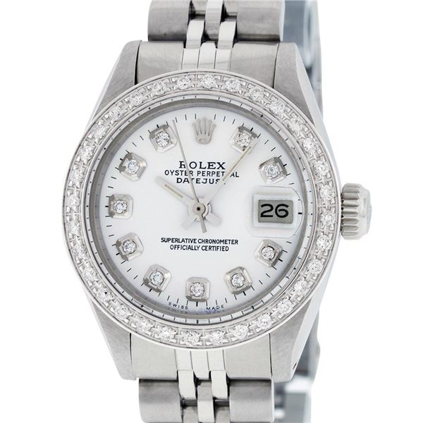Rolex Ladies Stainless Steel Diamond Oyster Perpetual Datejust Wristwatch