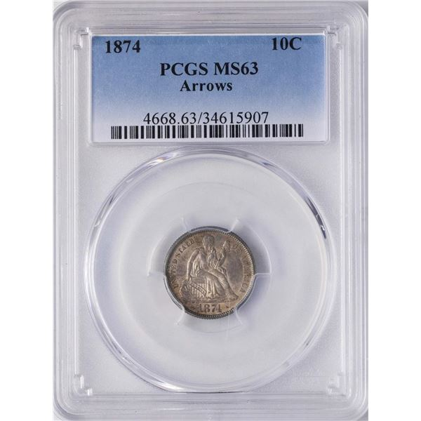 1874 Seated Liberty Dime Coin PCGS MS63 Arrows