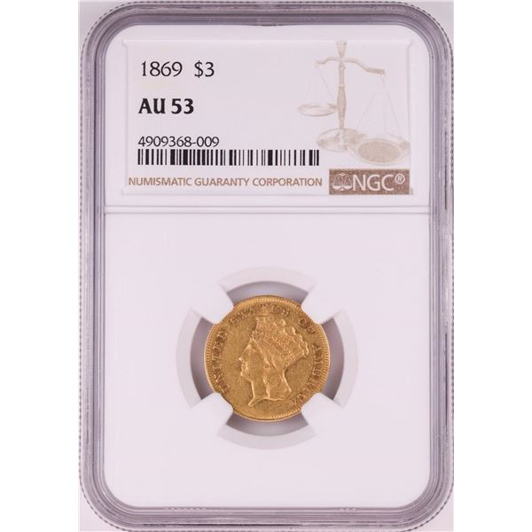 1869 $3 Indian Princess Head Gold Coin NGC AU53
