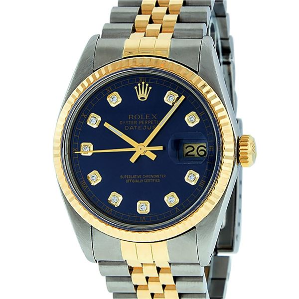 Rolex Mens Two Tone Blue Diamond Oyster Perpetual Datejust Wristwatch