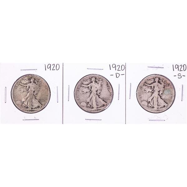 Lot of 1920-P/D/S Walking Liberty Half Dollar Coins