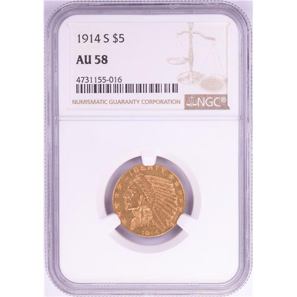 1914-S $5 Indian Head Half Eagle Gold Coin NGC AU58