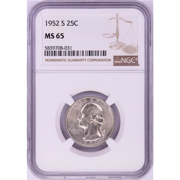 1952-S Washington Quarter Coin NGC MS65