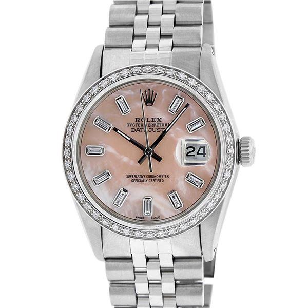 Rolex Men's Stainless Steel Baguette Diamond 36MM Datejust Wristwatch