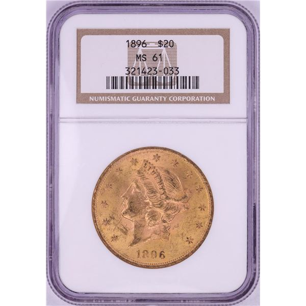 1896 $20 Liberty Head Double Eagle Gold Coin NGC MS61