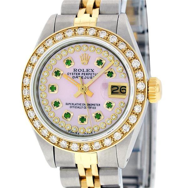 Rolex Ladies Two Tone Steel & Gold Pink MOP Emerald String Diamond Datejust Wristwatch
