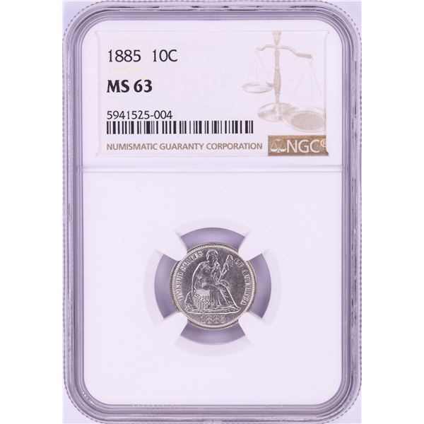 1885 Seated Liberty Dime Coin NGC MS63