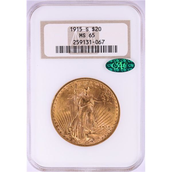 1915-S $20 St. Gaudens Double Eagle Gold Coin NGC MS65 CAC