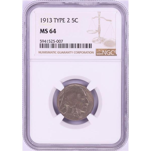 1913 Type 2 Buffalo Nickel Coin NGC MS64