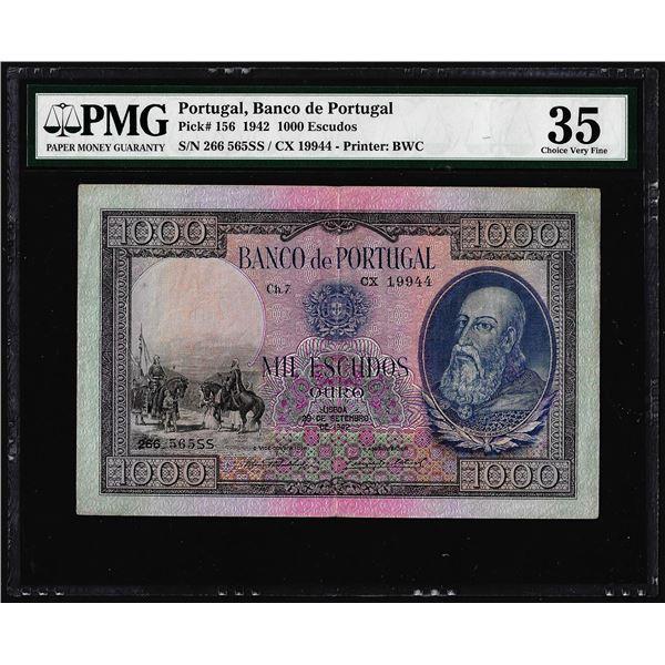 1942 Portugal Banco de Portugal 1000 Escudos Note Pick# 156 PMG Choice Very Fine 35