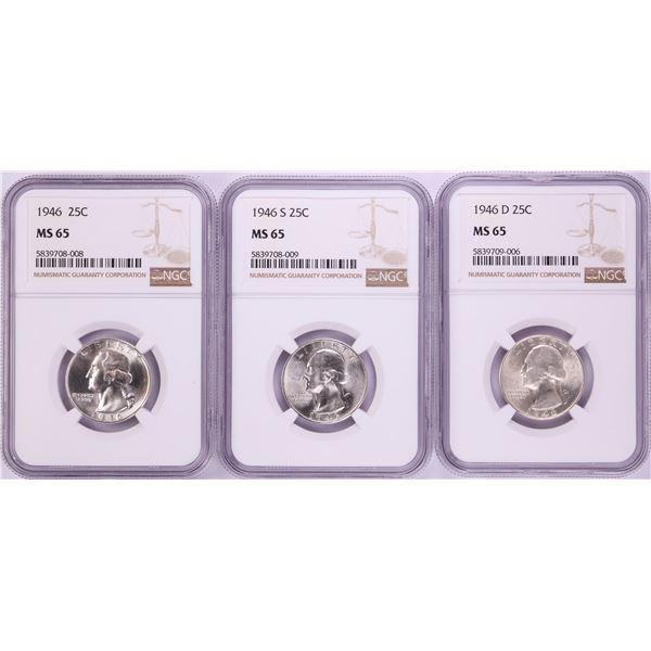 Lot of 1946-P/D/S Washington Quarter Coins NGC MS65