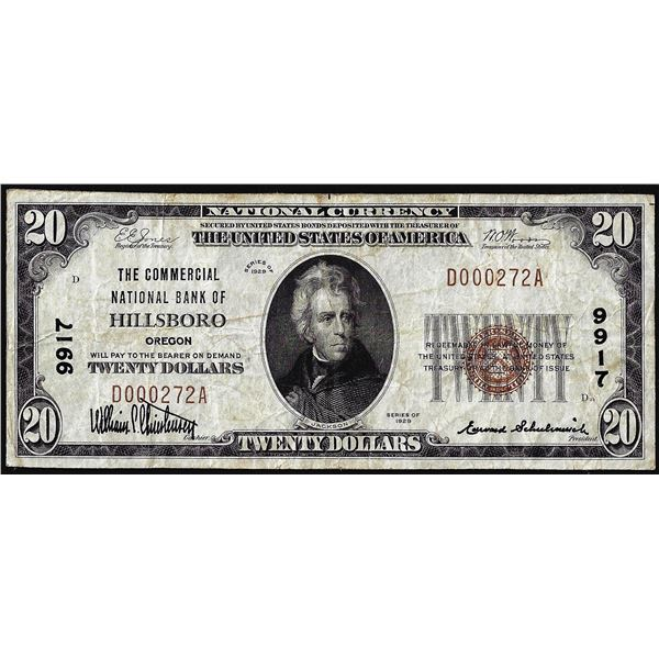 1929 $20 Commercial National Bank of Hillsboro, OR CH# 9917 National Currency Note