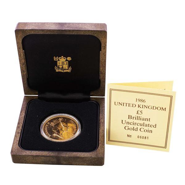 1986 United Kingdom 5 Pounds Gold Coin w/Box & COA