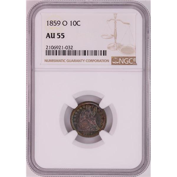 1859-O Seated Liberty Dime Coin NGC AU55