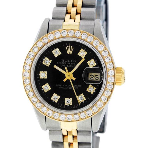 Rolex Ladies Two Tone Black Diamond Datejust Wristwatch
