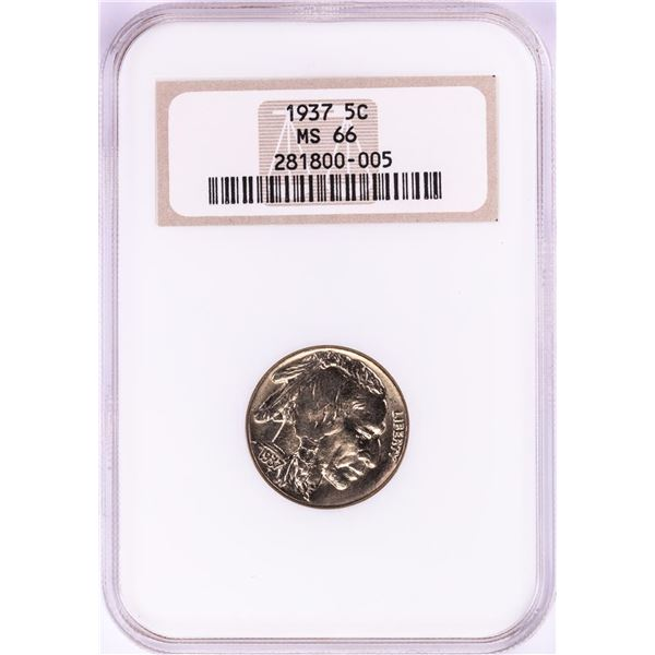 1937 Buffalo Nickel Coin NGC MS66 Old Fatty Holder
