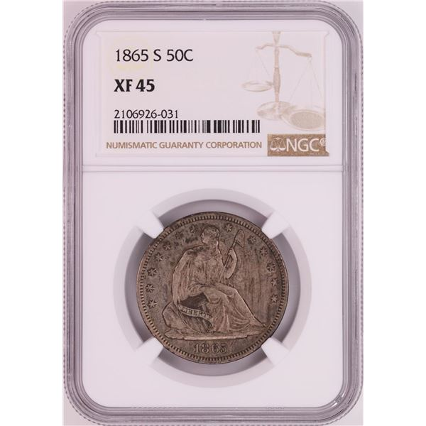 1865-S Seated Liberty Half Dollar Coin NGC XF45