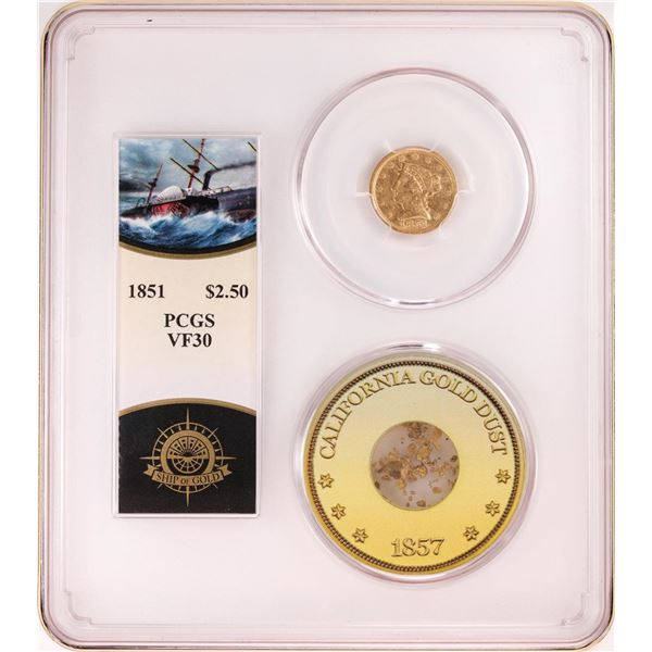 S.S. Central Shipwreck 1851 $2 1/2 Quarter Eagle Gold Coin w/ Pinches Gold PCGS VF30