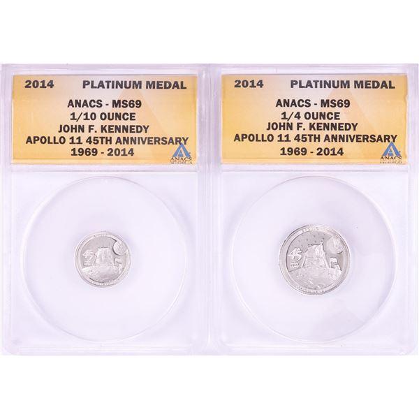 Set of 2014 Proof 1/10 & 1/4 oz Platinum JFK Apollo 11 Anniversary Medals ANACS MS69