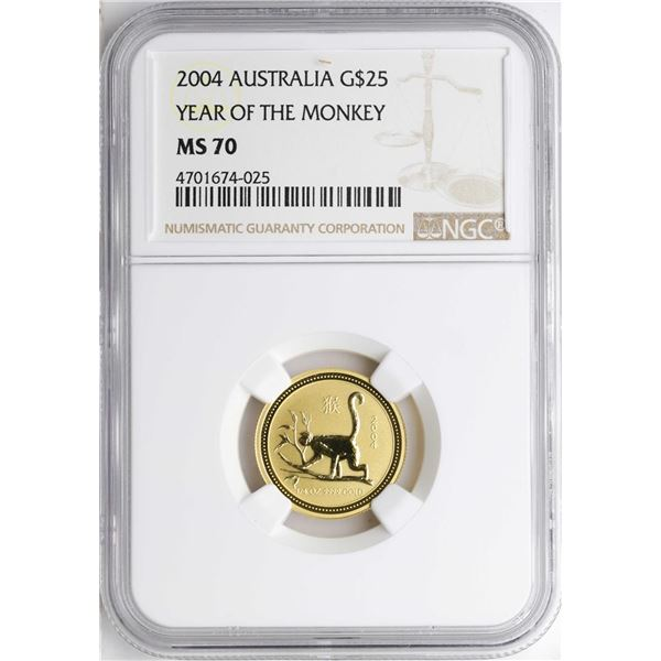2004 $25 Australia Year of the Monkey Gold Coin NGC MS70