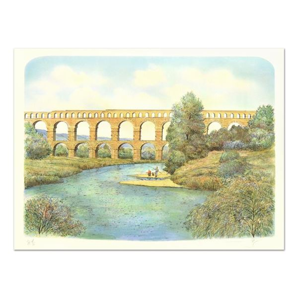 """Rolf Rafflewski """"Pont du Gard Aqueduct"""" Limited Edition Lithograph"""