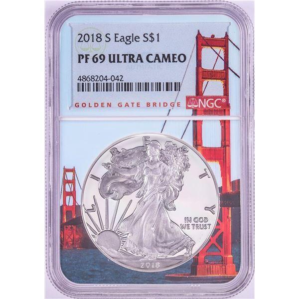 2018-S $1 Proof American Silver Eagle Coin NGC PF69 Ultra Cameo Bridge Core