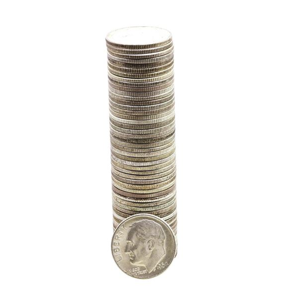 Roll of (50) Brilliant Uncirculated 1964-D Roosevelt Dime Coins