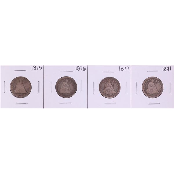 Lot of (4) 1875, 1876-S, 1877, 1891 Seated Liberty Quarter Coins