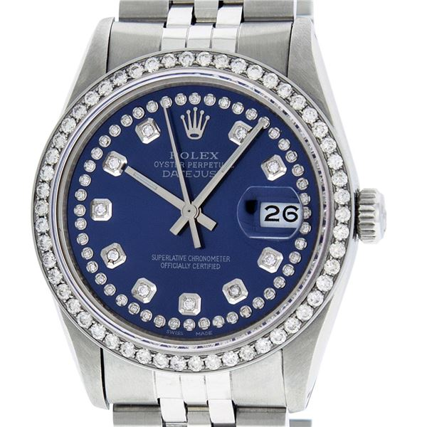 Rolex Men's Stainless Steel Blue Diamond Datejust Oyster Perpetual Wristwatch
