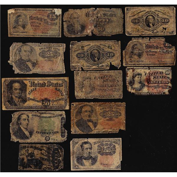 Lot of (13) Miscellaneous Fractional Currency Notes