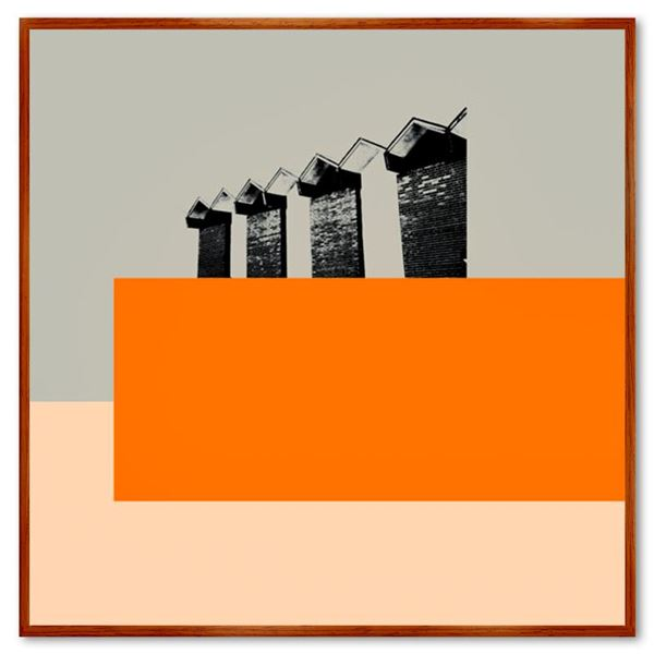 """Claudio Santini """"Ciytyscape 2"""" Limited Edition Mixed Media on Canvas"""
