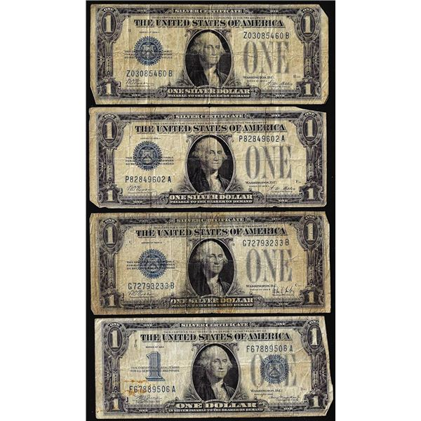 Lot of (4) 1928A/1928B/1934 $1 Funnyback Silver Certificate Notes