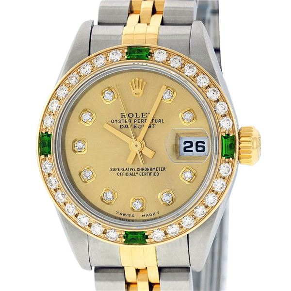 Rolex Ladies Two Tone Champagne Diamond & Emerald Quickset Datejust Wristwatch