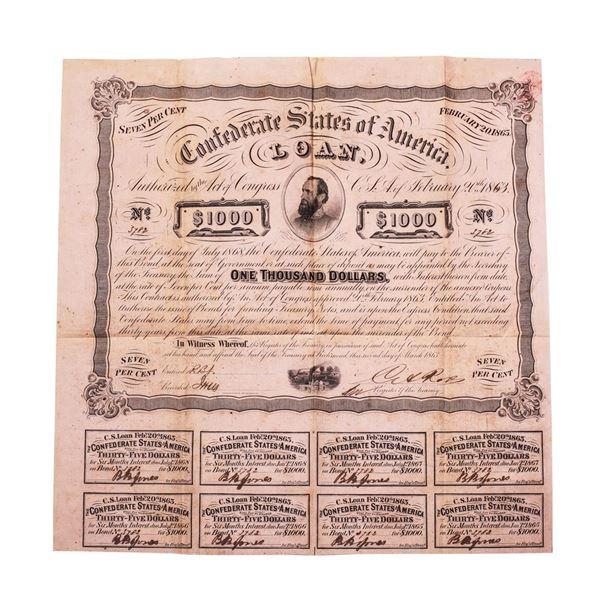 1863 $1,000 Confederate Bond Obsolete Sheet Printed on Dark Pink Paper B-241