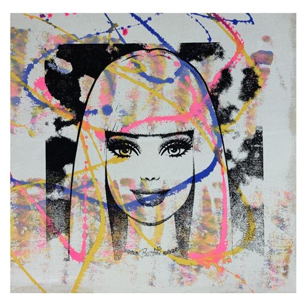 """Gail Rodgers """"Barbie"""" Original Mixed Media on Canvas"""