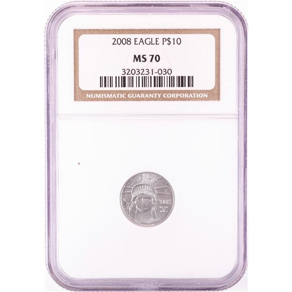 2008 $10 American Platinum Eagle Coin NGC MS70