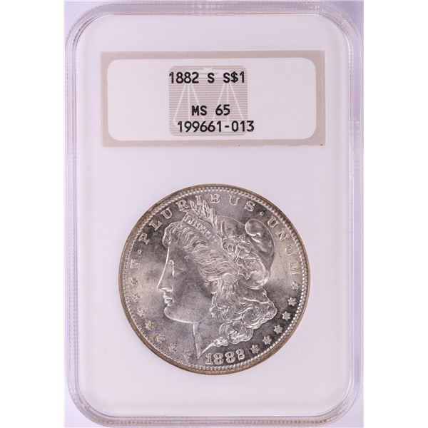 1882-S $1 Morgan Silver Dollar Coin NGC MS65 Old Fatty Holder