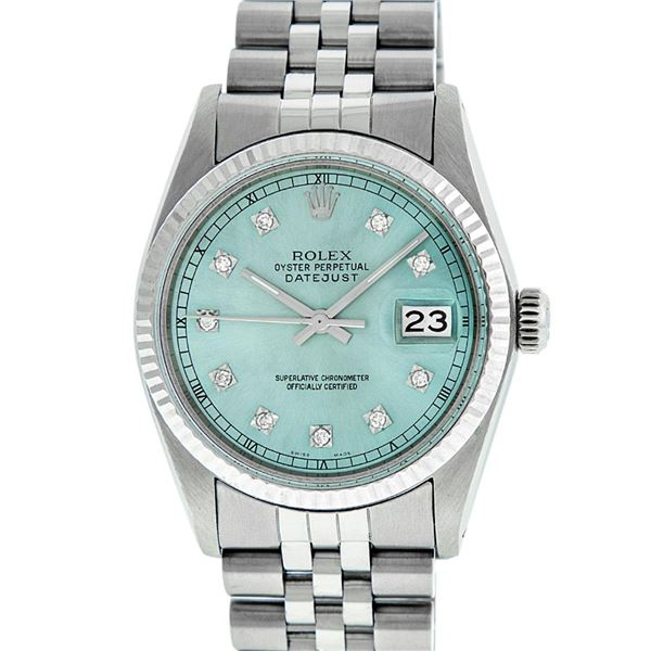 Rolex Mens Stainless Steel Diamond Oyster Perpetual Datejust Wristwatch