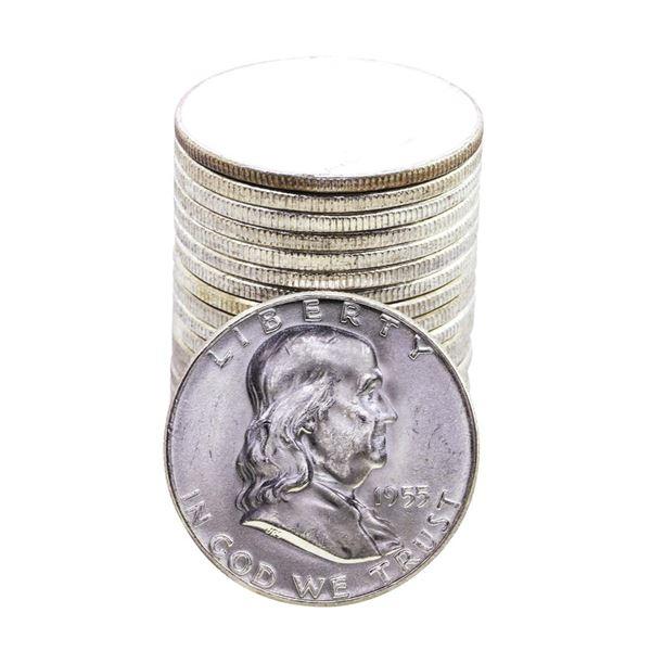 Roll of (20) Brilliant Uncirculated 1955 Franklin Half Dollar Coins