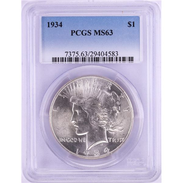 1934 $1 Peace Silver Dollar Coin PCGS MS63