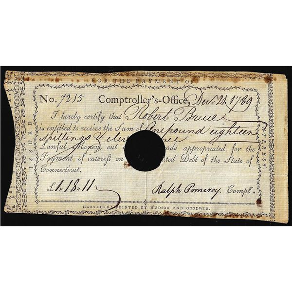 December 21, 1789 State of Connecticut Interest Certificate Colonial Note