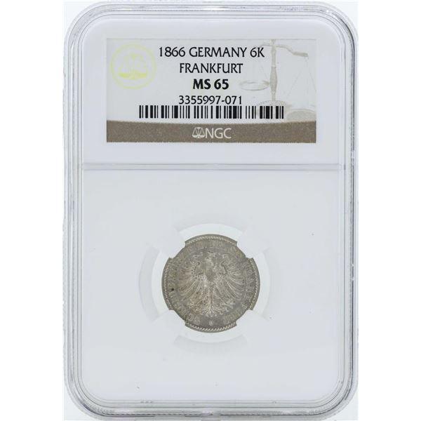 1866 Germany Frankfurt 6 Kreuzer Coin NGC MS65
