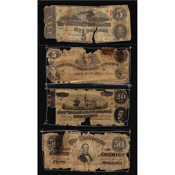 Lot of (4) Miscellaneous Confederate Currency Notes