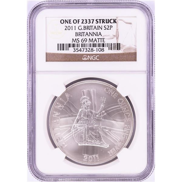 2011 Great Britain 2 Pounds Silver Coin NGC MS69 Matte