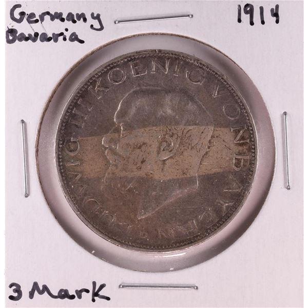 1914 Germany Bavaria 3 Mark Silver Coin